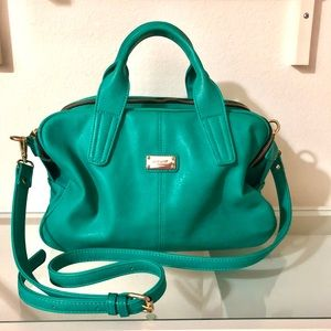 Nine West Teal Leather Crossbody; 3 Compartments